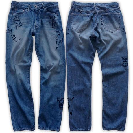 Hand-embroidery denim pants