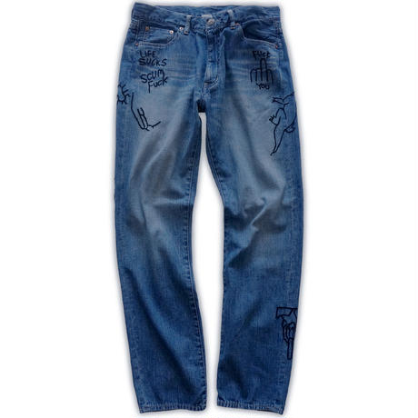 Hand-embroidery denim pants