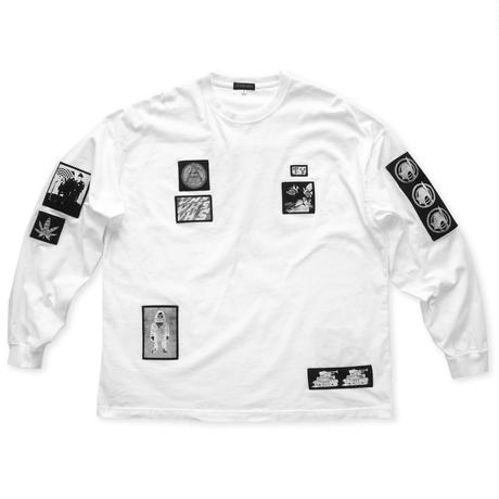 Silk print pach Long sleeve tee / White