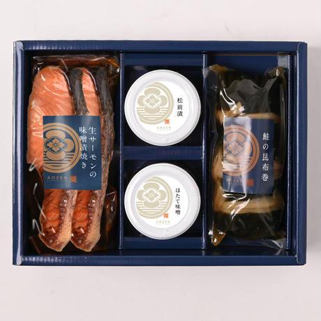 味の詰合せ4(サーモン味噌漬焼き、鮭の昆布巻、松前漬、ほたて味噌)【NS404】