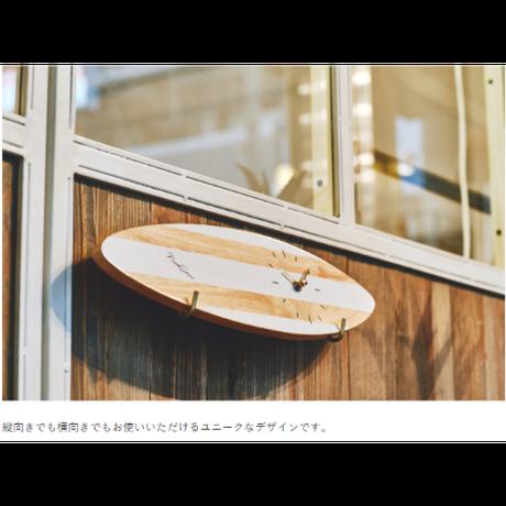 インターフォルム サーフボード クロック ホワイト/ブラック
