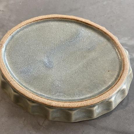 プリーツ楕円小皿 グレー