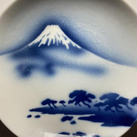 吹き墨 富士山図 六寸皿 5枚1組