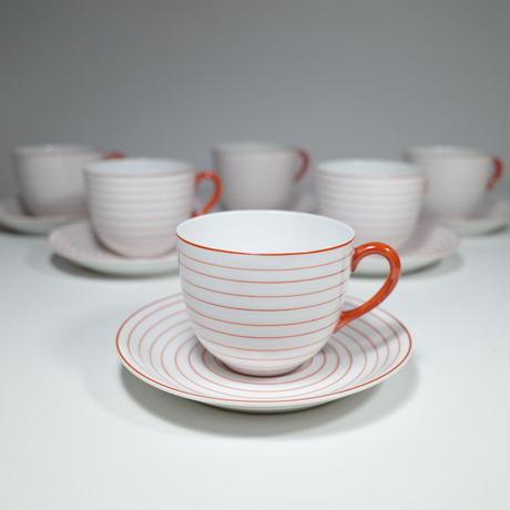 輪線文紅茶茶碗 6客揃 (カップ&ソーサー)