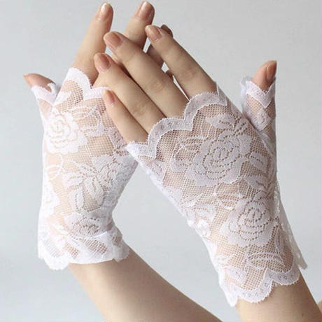【お取り寄せ】ハーフレースの手袋【2色】