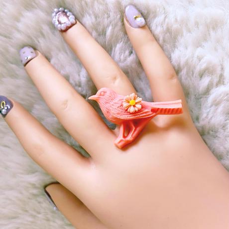小鳥とお花の指輪