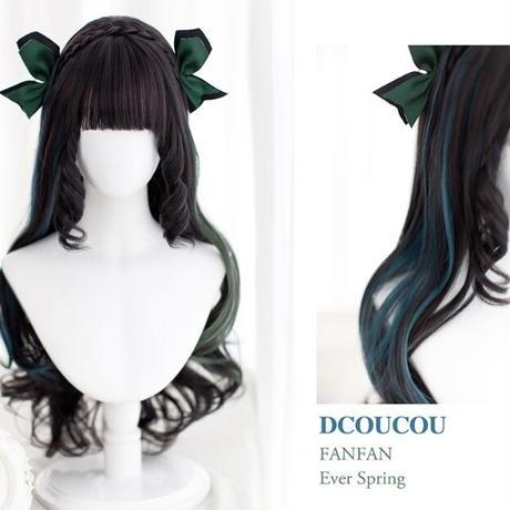 【Dcoucou】70cm超★グリーンブルーウィッグ