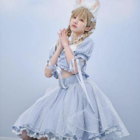【お取り寄せ】ディズニー公認☆不思議の国のアリス編み上げお袖セットアップ