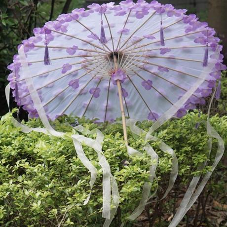雨が降る紫陽花傘