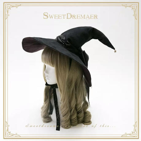 大きなおリボン魔女帽子