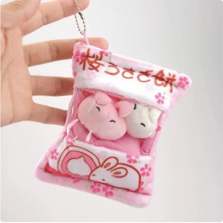 桜うさぎ餅ミニチュアキーホルダー