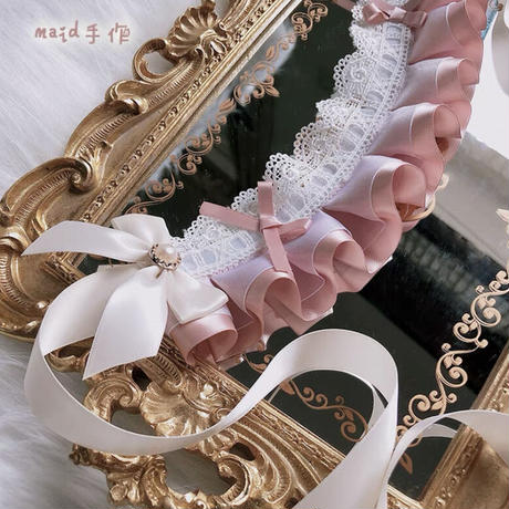 【お取り寄せ】プチボンネット風ヘッドドレス【PINK】