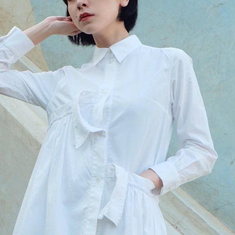 [Akihide Nakachi] asymmetry long shirts -white-