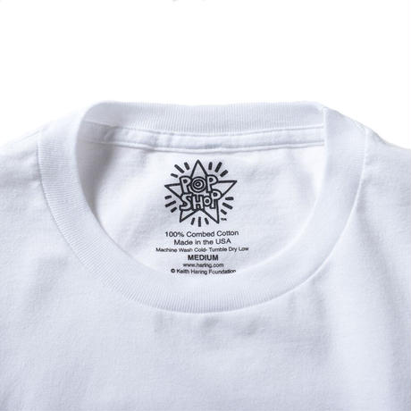 "POPSHOP Keith Haring Unisex T-Shirts ""Holding Heart"" White キース・ヘリング ユニセックス Tシャツ"