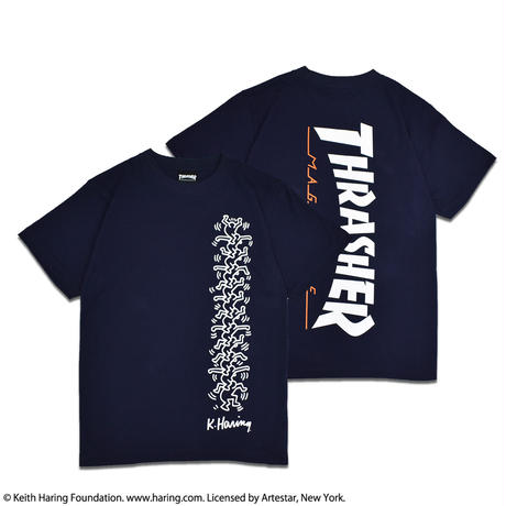 Thrasher × Keith Haring T-Shirts 2018 People Ladder (Navy)