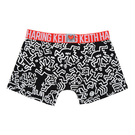 Clothmania x Keith Haring  メンズ ボクサーパンツ (Base Made UW KH010 Black)