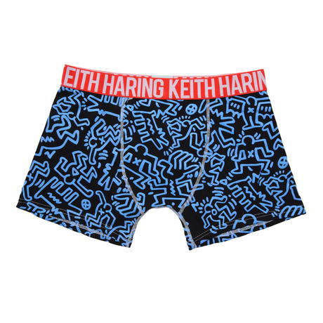 Clothmania x Keith Haring  メンズ ボクサーパンツ (Base Made UW KH010 Blue)