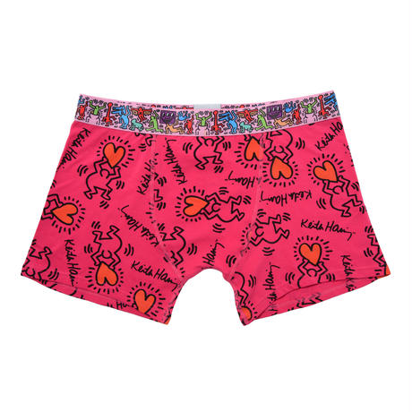 Clothmania x Keith Haring  メンズ ボクサーパンツ (Base Made UW KH008 Red)
