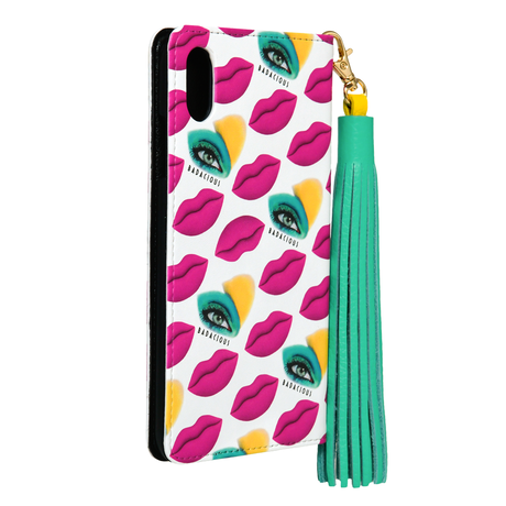 BADACIOUS KISS KISS iPHONE CASE PINK (Wallet style)