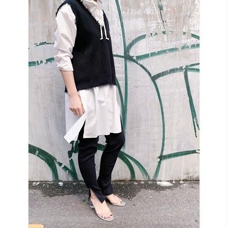 damage knit vest  (black)