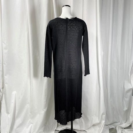 jacquard maxi cut dress(black)