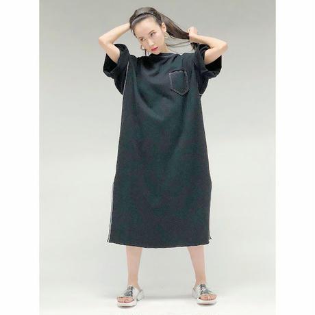 stitch sweat dress (black)