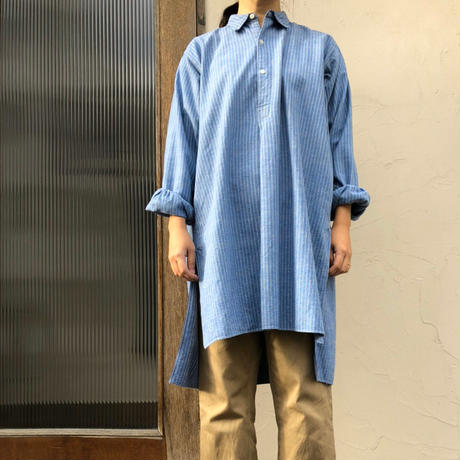 フランス グランパシャツ ライトブルー ヴィンテージ  vintage france shirt  lightblue