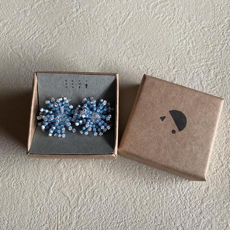 【ミミテチ】選択可/ピアスorイヤリング ブルー×薄い桜色 Lサイズ