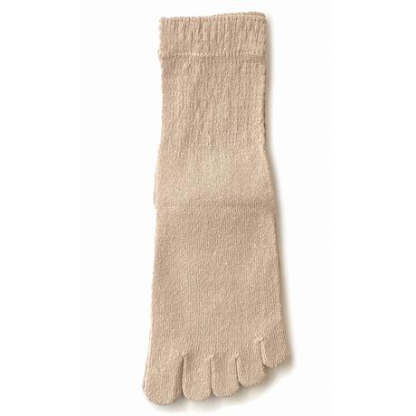 160-11 表絹100%五本指クルー丈ゆったりソックス/22-25cm