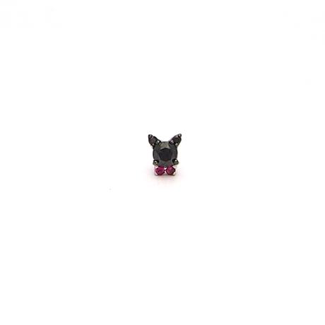 ねこ ブラックダイヤ&ルビー ピアス(方耳)