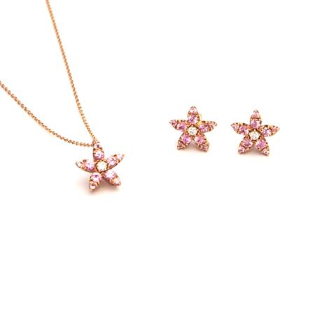 お花 ピンクサファイアネックレス