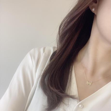 アニマーレ ねこ ネックレス K10YG  (貴石)