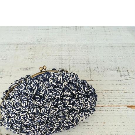 【オーダー品】Sango手編みポーチ   ネイビー