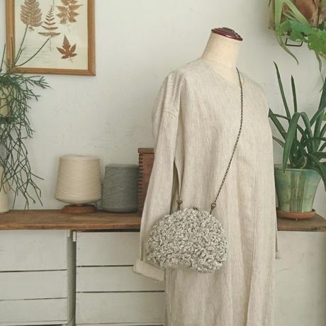 【オーダー品】Sango手編みポシェット(Mサイズ)  ライトグレー