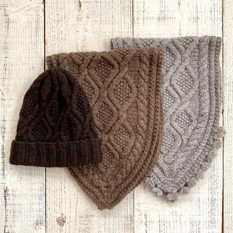【予約販売】CA&Co.  手編み YAK Diamond knit cap(折返し無しタイプ)