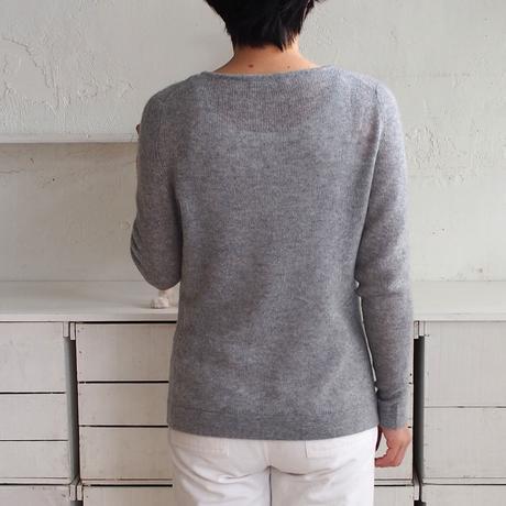 【予約販売】CA & Co. カシミヤガーゼボートネックセーター(ライトグレー)