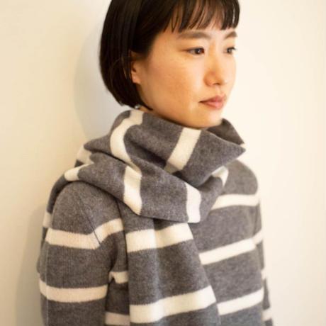 【予約販売】CA & Co. カシミヤ ガーゼ ボートネックセーター  (ボーダー)