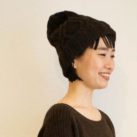 【予約販売】CA&Co.  手編み YAK Diamond knit cap(折返しタイプ)
