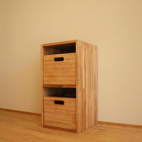 タモでできたシェルフ/2段棚 &収納ボックス2個セット