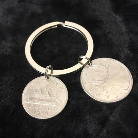 キーホルダー アンティークコイン  K007