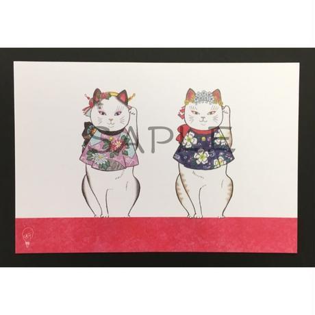 招き猫ポストカード 〜ときちゃん かえでちゃん〜