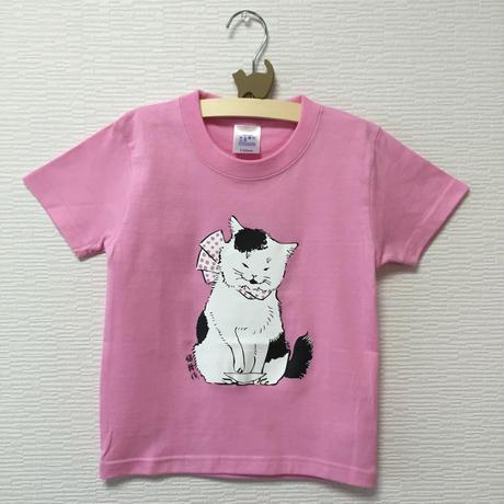 猫舞伎キッズTシャツ ピンク