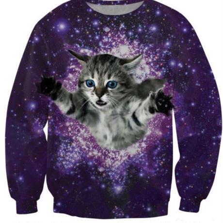 飛ぶネコ長袖Tシャツ