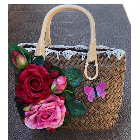 お花付きかごバッグ
