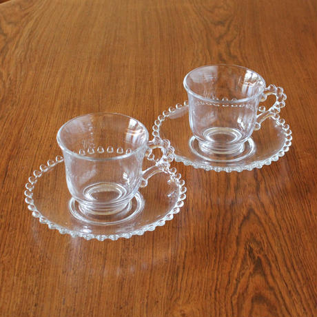 2 Candlewick Coffee Cups & Saucers(キャンドルウィック コーヒーカップ&ソーサー 2客セット)