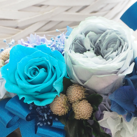 プリザーブドフラワー アレンジメント ブルー ピンク シンプルベース 誕生日 お祝い 敬老の日 贈呈品 フラワーギフト プリザーブドフラワー贈り物