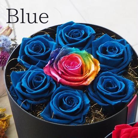 【名入れ】プリザーブドフラワー ギフト レインボーローズ ブルーローズ  サークルボックス ボックスアレンジ プレゼント 誕生日 バレンタイン お祝い 卒業 成人式 ブライダルプレゼント