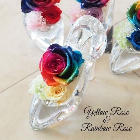 【送料無料】プリザーブドフラワー レインボーローズ ガラスの靴 4color 願いが叶う靴 誕生日 プロポーズ 母の日 ブライダル 結婚式 リングピロー ギフト 贈り物