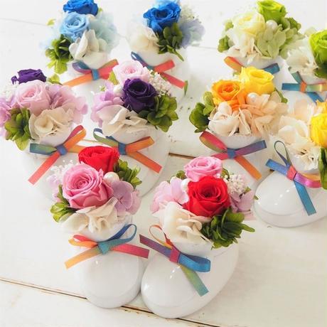 【名入れ】プリザーブドフラワー ベビーシューズ 5Collar 赤 黄色 緑 青 紫 出産祝い 誕生日 お祝い 名前をお入れして特別な贈り物に