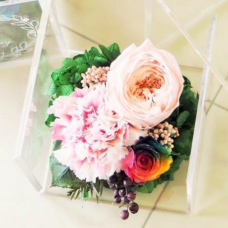 【名入れ】【送料無料】プリザーブドフラワー レインボーローズ メッセージ入り クリアケース パルフェシャーベット ピンク 母の日 誕生日 記念日